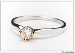Diamond ring silver rose gold band engagement ring